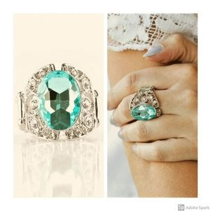 Queen of Hustle - Blue & BLING Stretch Ring